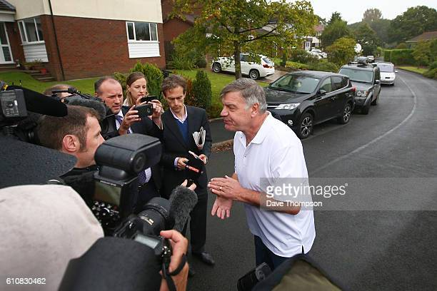 Former England manager Sam Allardyce speaks to the media as he leaves his family home on September 28 2016 in Bolton England Allardyce left his...