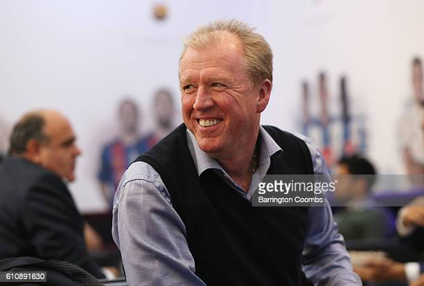 Former England manager Steve McClaren smiles in the VIP area during day 3 of the Soccerex Global Convention 2016 at Manchester Central Convention...