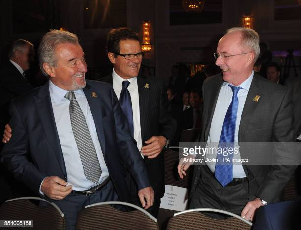 Former England managers Terry Venables Fabio Capello and Sven Goran Eriksson during the FA Anniversary Celebrations Launch at the Grand Connaught...