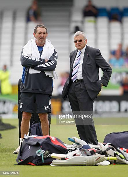 Former England opener Graham Gooch has a chat with former Test Umpire and Yorkshire legend Dickie Bird during day 3 of the 2nd Investec Test Match...