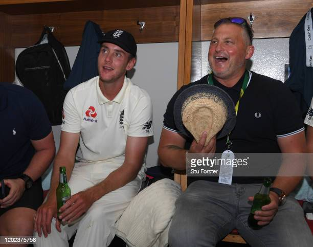 Former England player Darren Gough pictured with bowler Stuart Broad after their 3-1 series victory in the dressing room after Day Four of the Fourth...