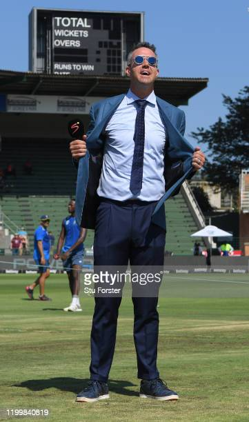 Former England player Kevin Pietersen keeps cool in the warm conditions before Day One of the Third Test between England and South Africa at St...