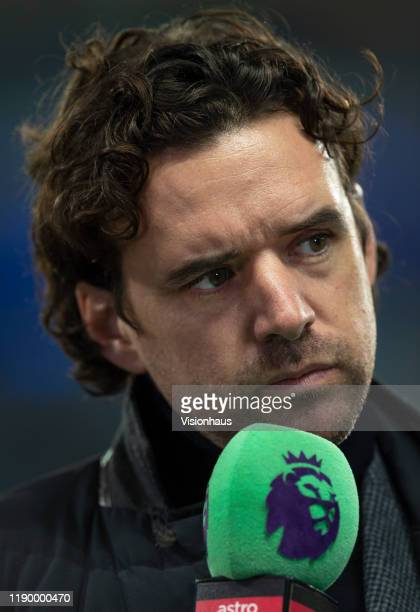 Former England player Owen Hargreaves commentating before the Premier League match between Manchester City and Chelsea FC at Etihad Stadium on...