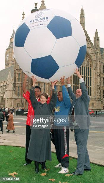 221194 LONDON Former England player Paul Elliott politician Glenda Jackson England soccer star John Barnes and shadow sports minister Tom Pendry at...
