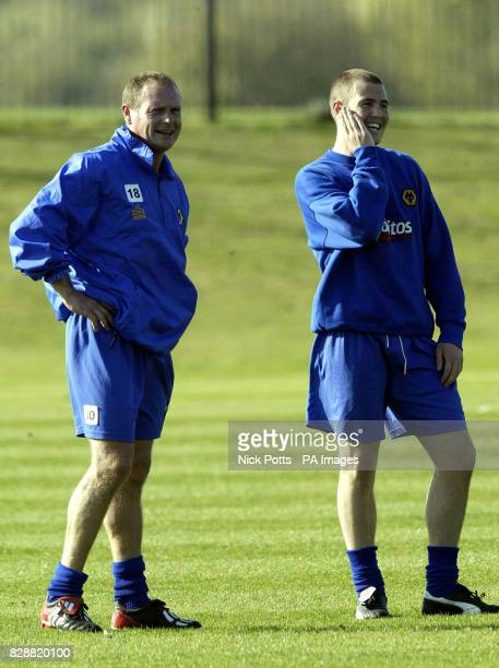 Former England player Paul Gascoigne and his former Glasgow Rangers teammate Kenny Miller at Wolverhapton Wanderers Compton training ground The...
