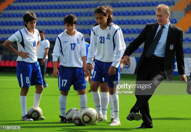 Former England player Sir Geoff Hurst in action at the Opening Ceremony of Dalga stadium which will be a venue for the FIFA U17 WWC 2012 during a...