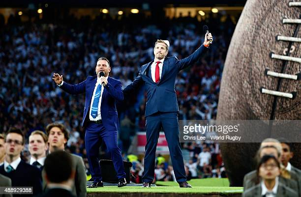 Former England player Will Greenwood speaks during the opening ceremony ahead of the 2015 Rugby World Cup Pool A match between England and Fiji at...