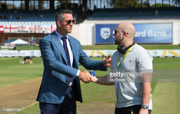 Former England players Kevin Pietersen and Matt Prior shake hands before Day One of the Third Test between England and South Africa at St George's...