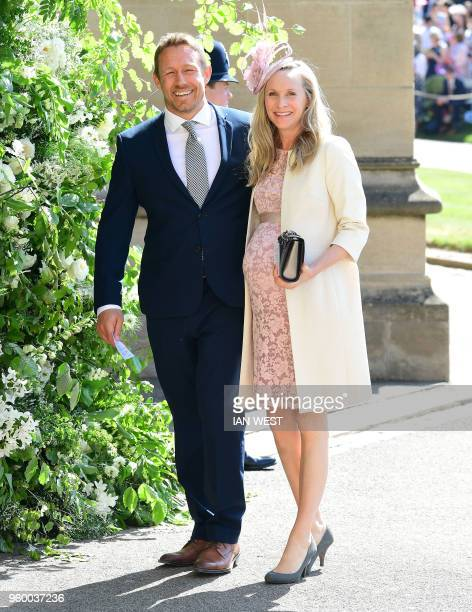 Former England rugby player Jonny Wilkinson and his wife Shelley Jenkins arrive for the wedding ceremony of Britain's Prince Harry Duke of Sussex and...