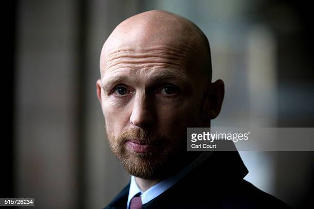 Former England rugby player Matt Dawson speaks to the media after attending a Petitions Committee at Portcullis House on March 15 2016 in London...
