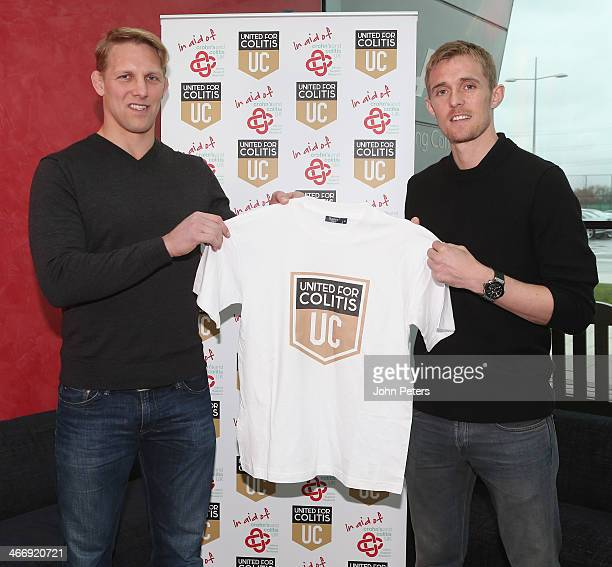 Former England rugby union player Lewis Moody and Darren Fletcher of Manchester United launch a charity to help sufferers of Colitis at Aon Training...