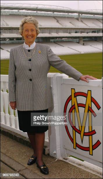 Former England Women's captain Rachael HeyhoeFlint poses by the player's gate after being voted onto the MCC Committee at Lord's Cricket Ground...