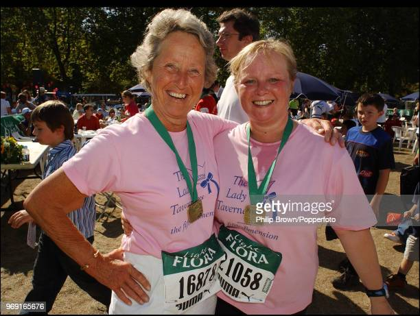 Former England Women's cricket captain Rachael HeyhoeFlint with BBC sports commentator Eleanor Oldroyd after the Flora Light Women's Challenge at...