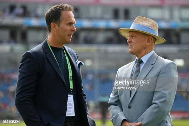 Former English cricket Michael Vaughan and former cricketer Geoffrey Boycott speak ahead of play on day one of the 2nd test between England and...