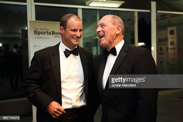 Former English cricketers Andrew Strauss and Geoffrey Boycott meet during The British Sports Book Awards at Lord's Cricket Ground on May 21, 2014 in...