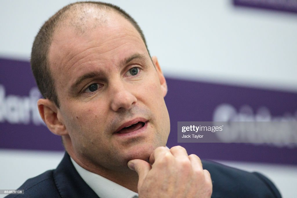 Former English international cricketer Andrew Strauss (R) hold a press conference at The Kia Oval on September 27, 2017 in London, England. The England Cricket Test squad are announced today ahead of this winter's tour of Australia.