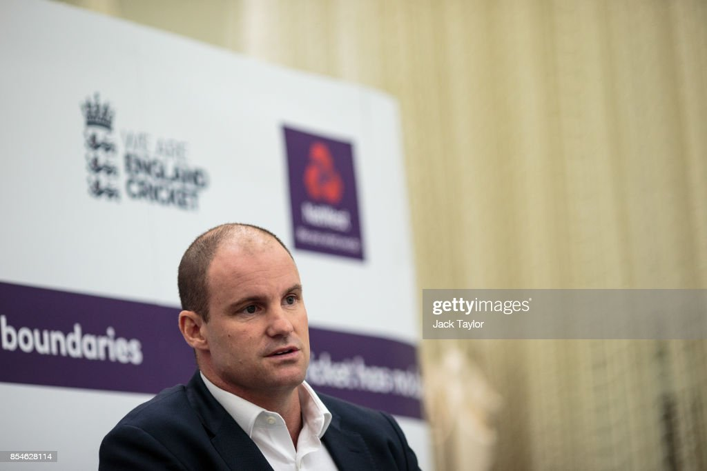 Former English international cricketer Andrew Strauss holds a press conference at The Kia Oval on September 27, 2017 in London, England. The England Cricket Test squad are announced today ahead of this winter's tour of Australia.