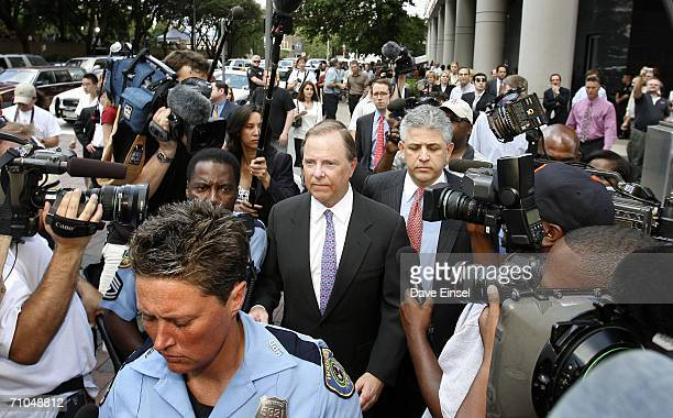 Former Enron CEO Jeff Skilling leaves the Bob Casey US Courthouse with his attorney Daniel Petrocelli after the end of his fraud and conspiracy trial...