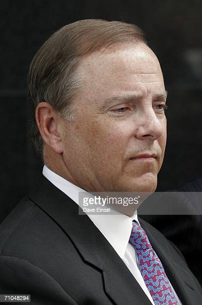 Former Enron CEO Jeff Skilling listens to comments outside the Bob Casey US Courthouse after the end of his fraud and conspiracy trial May 25 2006 in...