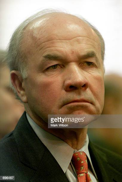 Former Enron Chairman Kenneth Lay listens to opening statements before the Senate Committee on Commerce Science and Transportation February 12 2002...
