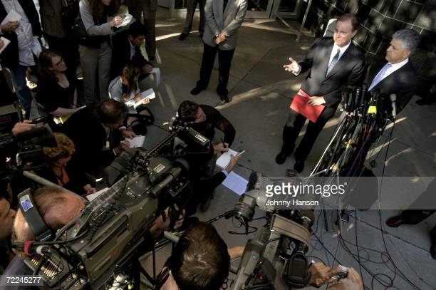 Former Enron Chief Executive Jeffrey Skilling and his attorney Dan Petrocelli talk to the media outside the Bob Casey United States Court House...