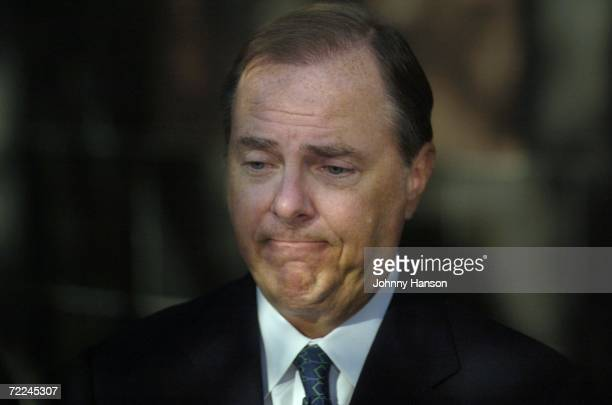 Former Enron Chief Executive Jeffrey Skilling talks to the media outside the Bob Casey United States Court House October 23 in Houston Texas Skilling...