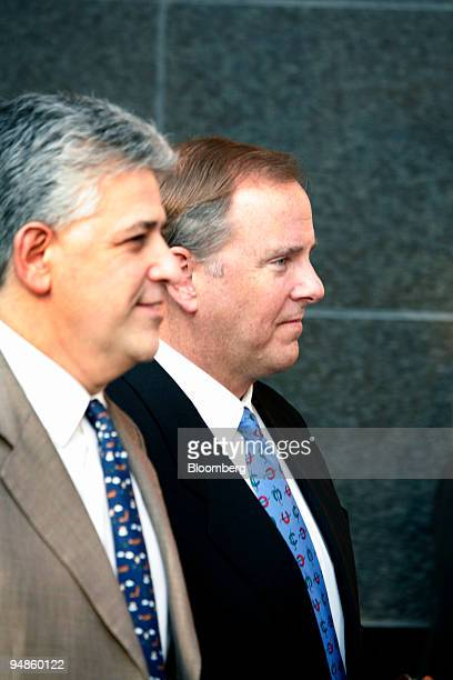 Former Enron Corp Chief Executive Officer Jeff Skilling leaves the Bob Casey Federal Courthouse in Houston Texas with his counsel Daniel Petrocelli...