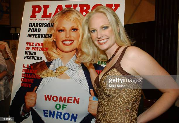 Former Enron employee Christine Nielsen attends the Playboy's Women of Enron media conference at Delmonico's June 27 2002 in New York City Nielsen a...