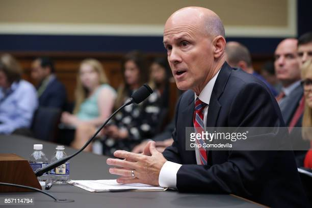 Former Equifax CEO Richard Smith testifies before the House Energy and Commerce Committee's Digital Commerce and Consumer Protection Subcommittee in...