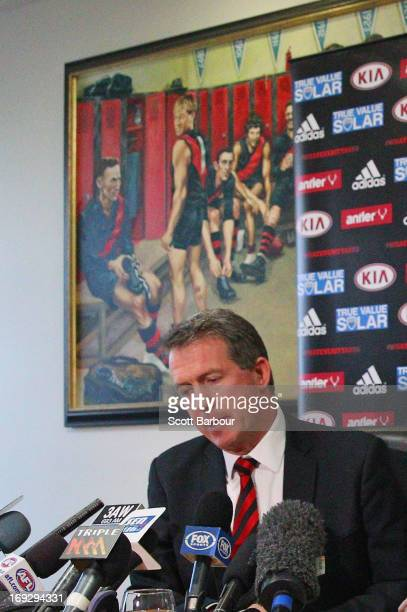Former Essendon Bombers CEO Ian Robson looks on during an Essendon Bombers AFL press conference at Windy Hill on May 23 2013 in Melbourne Australia