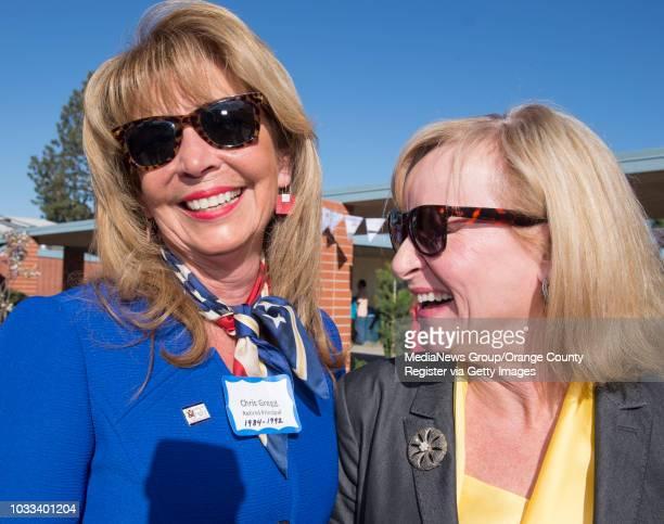 Former Estock Elementary principals Chris Gregg left and Darlene Messinger share a laugh during the Helen Estock Elementary 50th Anniversary...