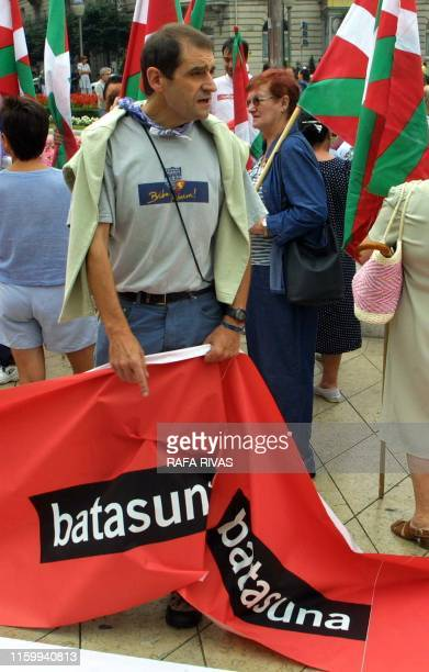 Former ETA activist and current pro independence Basque nationalist party BATASUNA deputy Jose Antonio Urrutikoetxea alias Josu Ternera holds a...