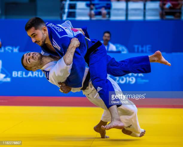 Former European champion, Amiran Papinashvili of Georgia heaves Daniel Ben David of Israel high into the air but failed to score. Later he held Ben...