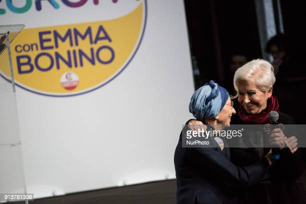 Former European Commissioner Emma Bonino and Italian fashion designer Anna Fendi share the stage during the presentation ofEuropa party's election...