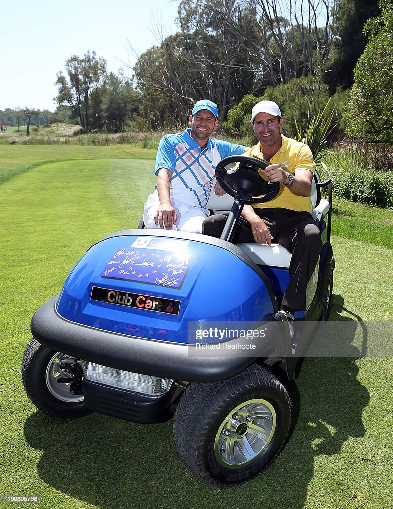 Former European Ryder Cup Captain Jose Maria Olazabal sits on his Captains buggy with Sergio Garcia at the Open de Espana at Parador de El Saler on April 17, 2013 in Valencia, Spain. All the victorious European players have signed the front of the cart for Jose Maria to keep.