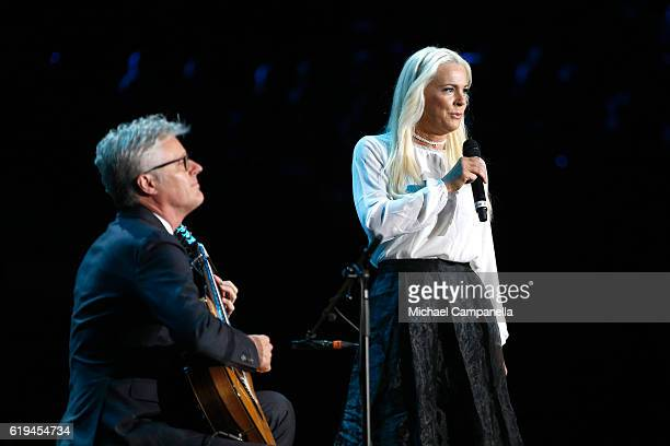 Former Eurovision Songcontest winner Malena Ernman performs on stage the 'Together in Hope' event prior the arrival of Pope Francis at Malmo Arena on...