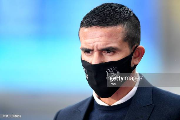Former Everton player Tim Cahill is seen ahead of the Premier League match between Everton FC and Liverpool FC at Goodison Park on June 21, 2020 in...