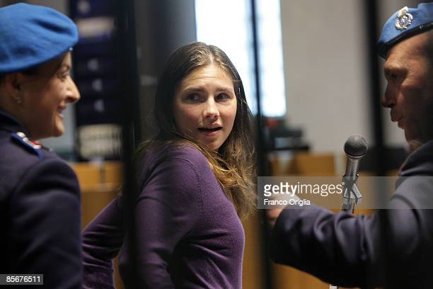 Former exchange student Amanda Knox of Seattle Washington arrives for the Meredith Kercher murder trial at the Perugia courthouse on March 28 2009 in...