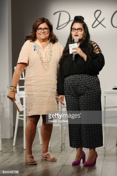 Former executive director of the Council of Fashion Designers of America Fern Mallis and CEO cofounder at DiaCo Nadia Boujarwah speak onstage during...