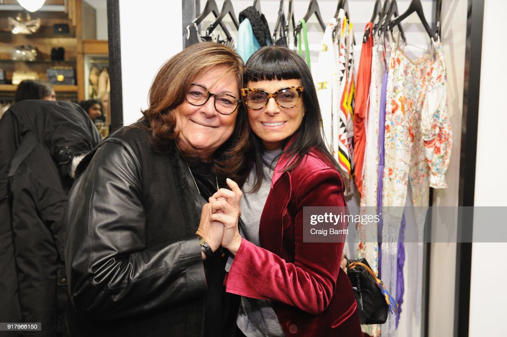 Former executive director of the Council of Fashion Designers of America, Fern Mallis (L) and fashion designer Norma Kamali attend Vintage For The Future: A Norma Kamali Retrospective by What Goes Around Comes Around on February 13, 2018 in New York City.