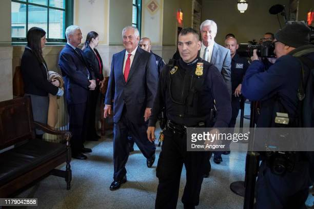 Former Exxon CEO and former US Secretary of State Rex Tillerson leaves New York Supreme Court on October 30 2019 in New York City Tillerson testified...