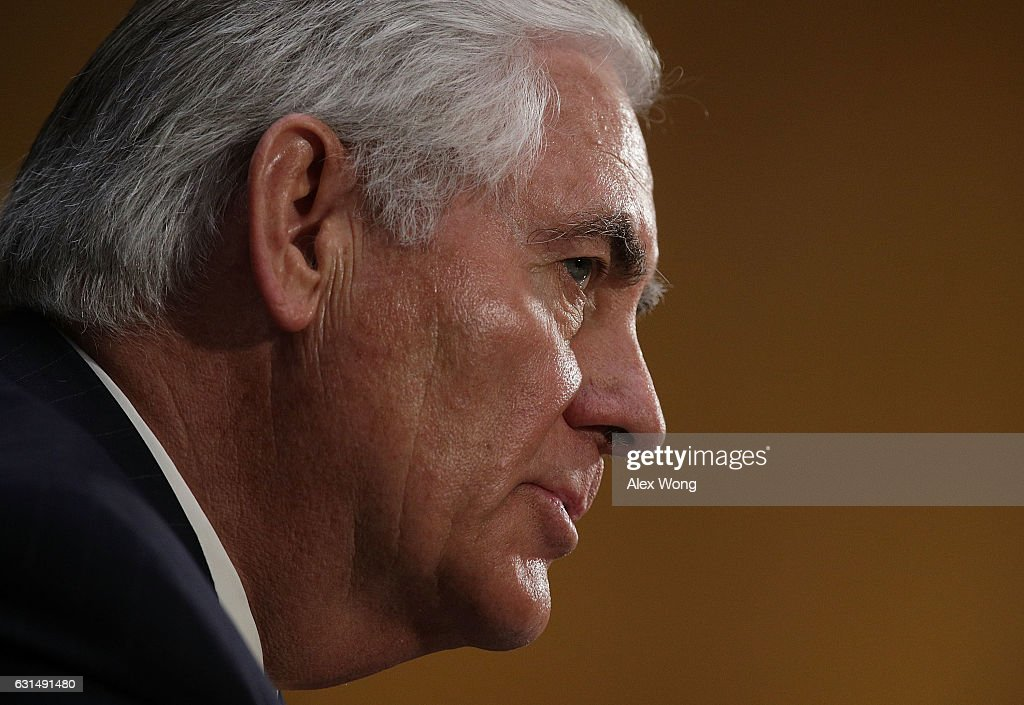Former ExxonMobil CEO Rex Tillerson, U.S. President-elect Donald Trump's nominee for Secretary of State, testifies during his confirmation hearing before Senate Foreign Relations Committee January 11, 2017 on Capitol Hill in Washington, DC. Tillerson is expected to face tough questions regarding his ties with Russian President Vladimir Putin.