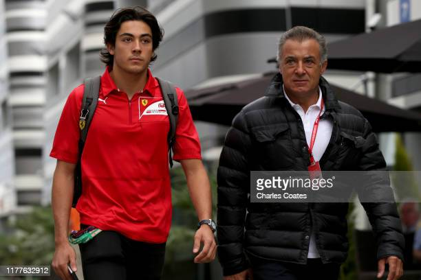 Former F1 driver Jean Alesi and F2 driver Giuliano Alesi walk in the Paddock before final practice for the F1 Grand Prix of Russia at Sochi Autodrom...