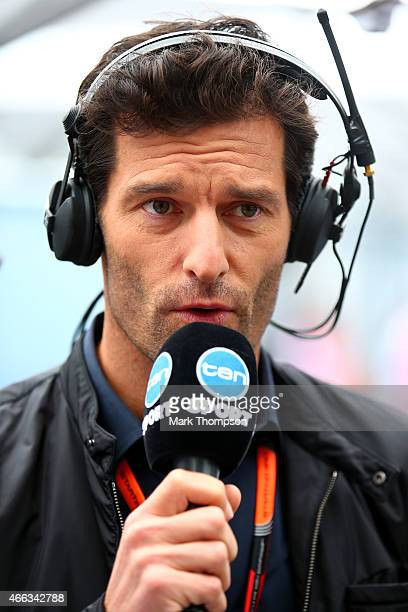 Former F1 driver Mark Webber speaks to camera in the paddock before the Australian Formula One Grand Prix at Albert Park on March 15 2015 in...