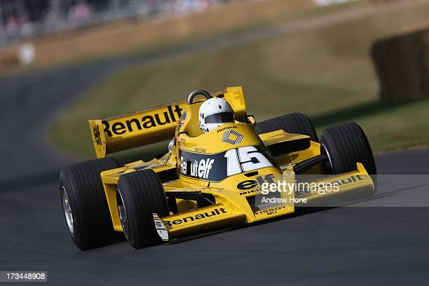 Former F1 Driver Rene Arnoux drives a Renault RS01 as he takes part in the Goodwood Festival of Speed on July 14, 2013 in Chichester, England.