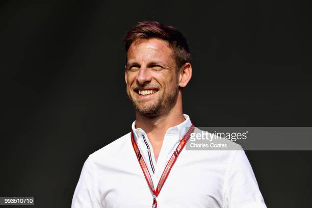 Former F1 driverJenson Button of Great Britain talks on the fan stage after qualifying for the Formula One Grand Prix of Great Britain at Silverstone...
