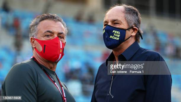 Former F1 drivers Gerhard Berger and Jean Alesi look on from the grid ahead of the F1 Grand Prix of Bahrain at Bahrain International Circuit on March...
