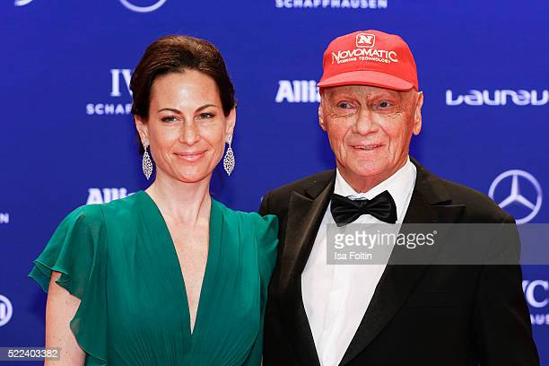 Former F1 pilot Andreas Nikolaus 'Niki' Lauda and his wife Birgit Lauda attend the Laureus World Sports Awards 2016 on April 18 2016 in Berlin Germany