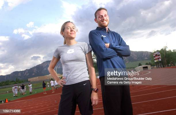 Former Fairview High School state champ James Hatch right with his coach Joanne Ernst who coached crosscountry teams at Fairview High School at the...