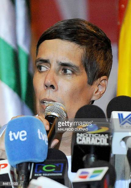 Former FARC hostage, Alan Jara, a former governor abducted in 2001, speaks during a press conference soon after his release in Villavicencio, 90 km...